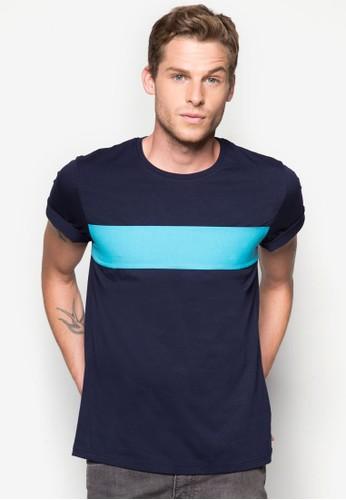 配色條紋圓領TEE, 服飾, 素色zalora 心得T恤