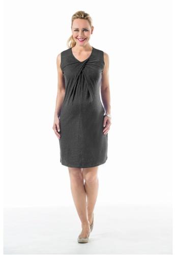Bove by Spring Maternity grey Knitted Sleeveless Chara Overlap Dress D.Grey LDN2501 BO010AA0FTIBSG_1