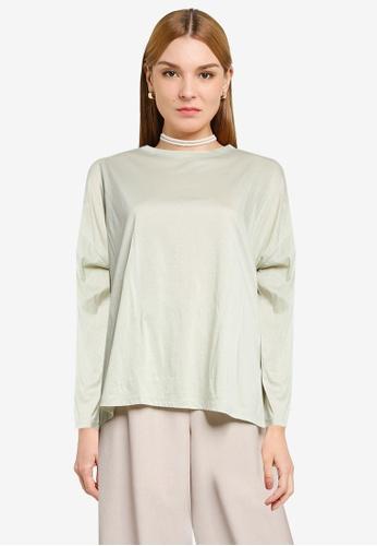 LOWRYS FARM green Oversized Slits T-shirt D100BAACB250B6GS_1