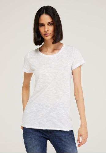 Sisley white Round Neck T-shirt 450F0AAEC81037GS_1