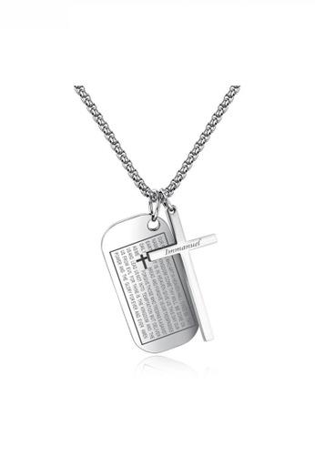 HAPPY FRIDAYS Cross And Religious Words Army Necklace JW OK-1448 E8DFEAC806348BGS_1