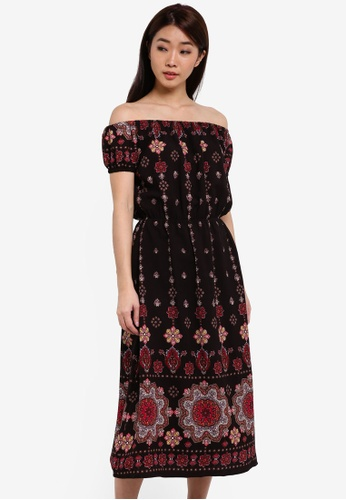 ZALORA black Printed Off Shoulder Dress A5F5FAA17812ABGS_1