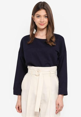 JACQUELINE DE YONG blue Maise L/S Zip Sweatshirt BEE26AA2C8FB44GS_1