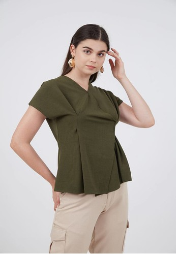 Berrybenka Label green Sophie Mora Tucked Blouse Army F8236AA7B7FFF8GS_1