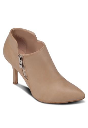 拉鍊高跟仿皮踝靴, 女鞋, zalora 男鞋 評價靴子