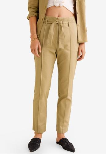 Mango beige Belt Cotton-Blend Trousers 4E84BAA37205CCGS_1