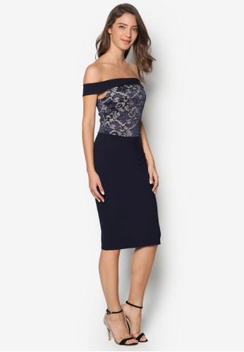 露肩蕾絲拼接連esprit 澳門身裙, 服飾, 洋裝