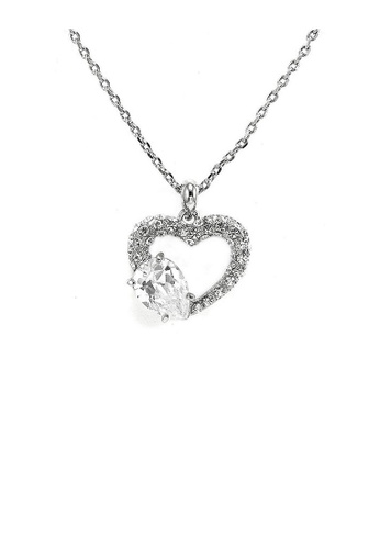 Glamorousky silver Glistering Joyful Heart Pendant with Silver Austrian Element Crystals and CZ and Necklace B1DB1AC4DE4EB6GS_1