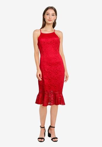 ZALORA WORK red Fluted Hem Lace Dress E8710AA2E4CDBAGS_1