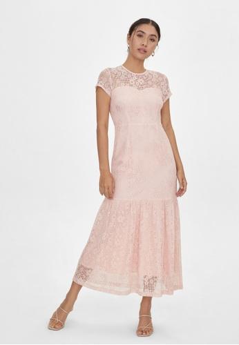 Pomelo pink Maxi Floral Frill Hem Dress - Pink 305A4AA59A8A81GS_1