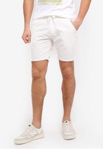 "ZALORA white 6"" Garment Washed Shorts With Turn Up Cuff 8D907AA4057156GS_1"