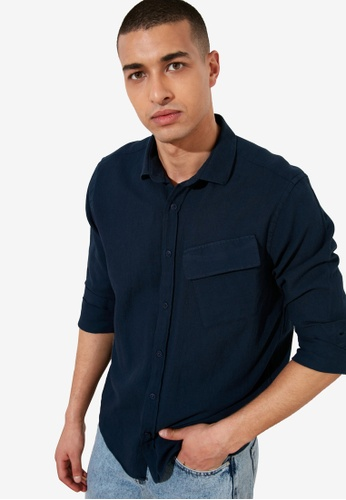 Trendyol navy Regular Fit Single Pocket Shirt 40B2DAA093B4ACGS_1