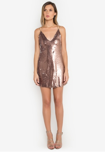 NOBASIC brown Zoey Sequins Mini Dress NO444AA0FP62SG_1