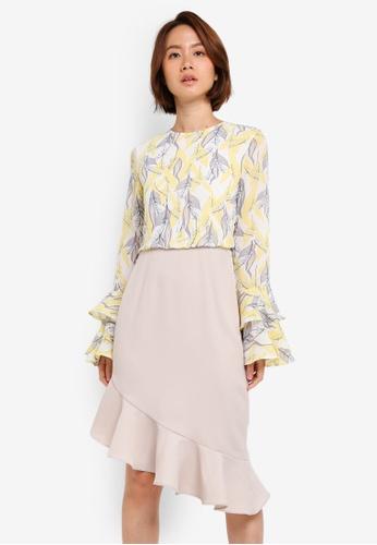 ZALORA beige Tiered Sleeve Dress 574E4AAF123999GS_1