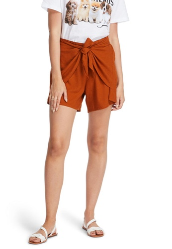 6IXTY8IGHT brown Tie-Front High Rise Linen Shorts PN08363 2C655AABA37683GS_1