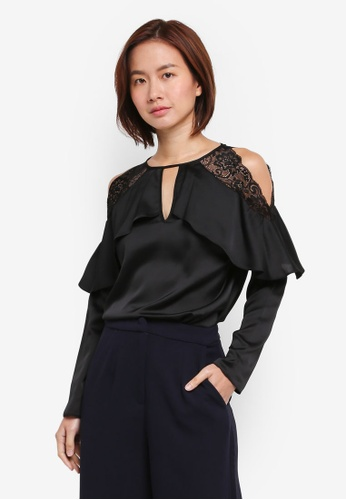Lipsy black Black Lace Cold Shoulder Top 3E9B3AA656DF5BGS_1