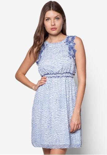 esprit 衣服繡花拼接印花連身裙, 服飾, 服飾