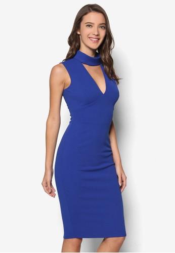 高領V 字esprit分店低胸貼身連身裙, 服飾, 洋裝