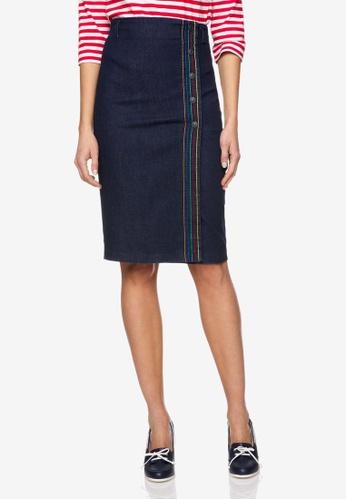 United Colors of Benetton 藍色 彩色壓線合身牛仔窄裙 94D22AAD04E956GS_1