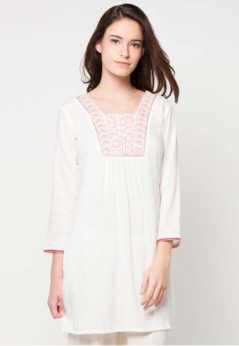 CHANIRA FESTIVE COLLECTION white and pink Raisa Short Tunic CH354AA89BHMID_1