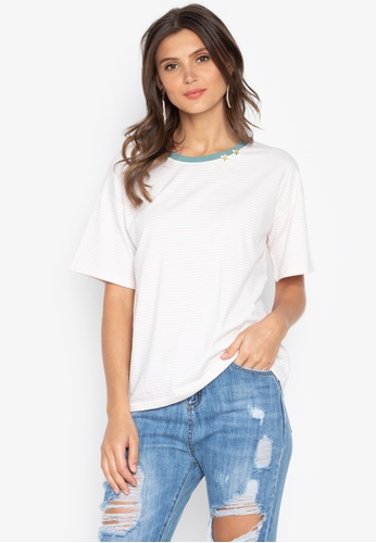 Chase Fashion white Stripes Loose T-Shirt With Flowers Embroidery 27A51AA8C8E787GS_1