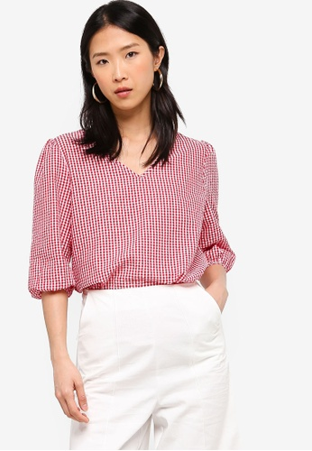ZALORA BASICS multi Basic V-Neck Puff Sleeves Top 2D717AA3532C89GS_1