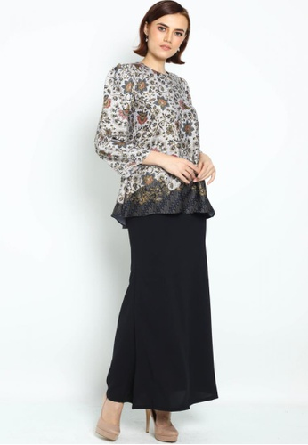 Owl By Nora Danish - Raihanna By Owloveraya Kurung Kedah Batik Modern from OWLBYND in Black