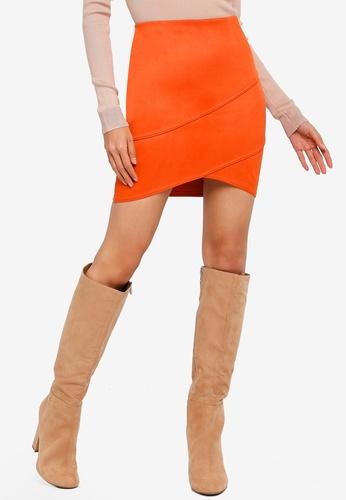 MISSGUIDED orange Faux Suede Wrap Mini Skirt 8E982AA458B1ADGS_1