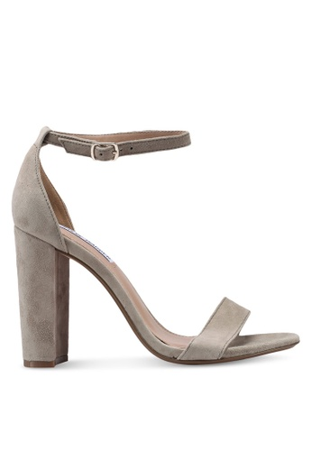 Steve Madden 灰色 Carrson Open Toe Ankle Strap Block Heels BC441SH05FE9EFGS_1