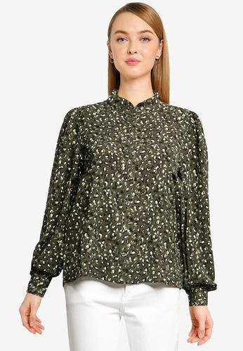 JACQUELINE DE YONG green Milo Frill Shirt 7774CAA5372F62GS_1