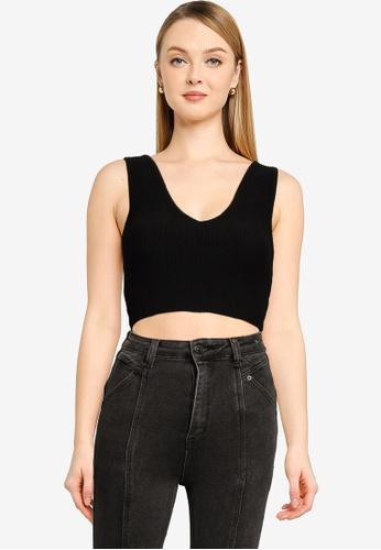 Supre black Danica V Neck Knit Top FAF01AA7CECF79GS_1