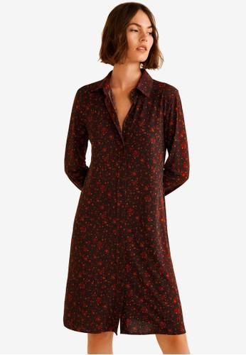 Mango brown Flowy Print Dress 1B013AA0670E20GS_1