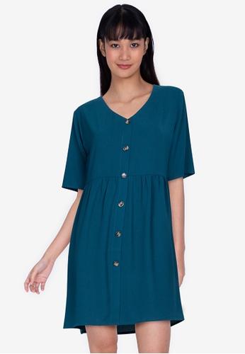 ZALORA BASICS 綠色 V-Neck Button Through Dress 1EFA8AA93B712FGS_1