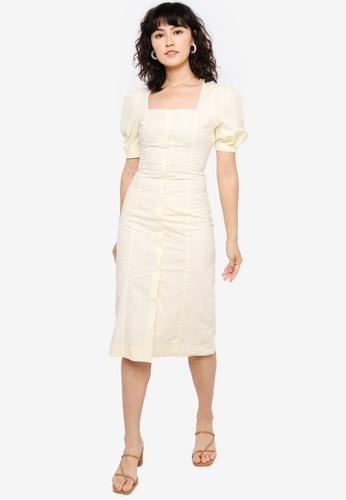 Urban Revivo yellow Cotton Dress E2169AAA7CC9E4GS_1