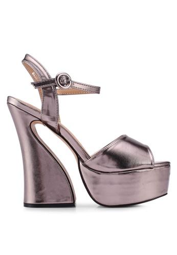 Public Desire grey Heavy Curve Detail Platform Heels F5291SH81271FDGS_1