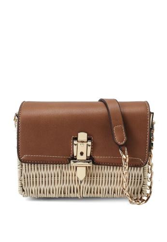 Forever New brown Gemma Lock Detail Crossbody Bag 8CC8FAC943F8D5GS_1