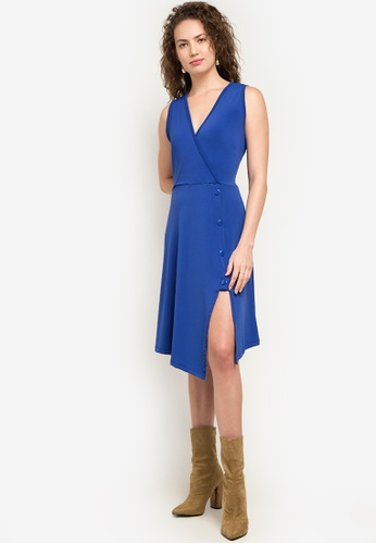 Chloe Edit blue Cassie Uneven Hem Dress With Slit And Placket CH672AA0KADJPH_1