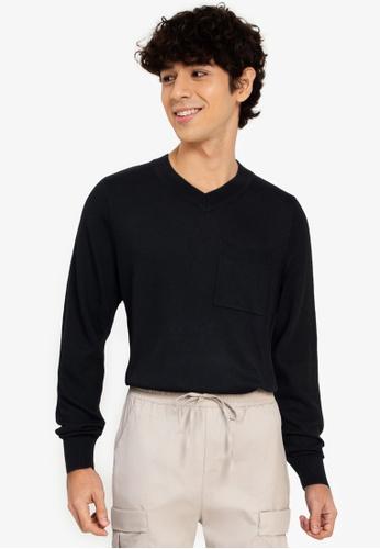 ZALORA BASICS black V-Neck Patch Pocket Knitwear 8BD9FAA7A288F9GS_1
