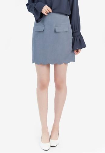Yoco blue Scallop Hem Skirt AC1CEAA7A718BCGS_1