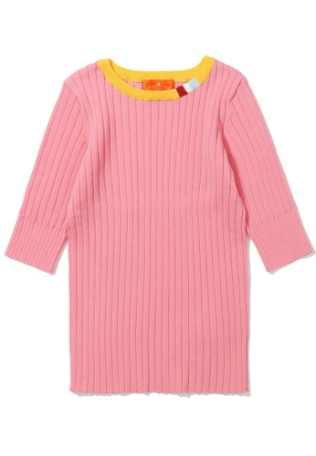 tout à coup pink Ribbed contrast collar sweater 8519DAA4FE72F8GS_1