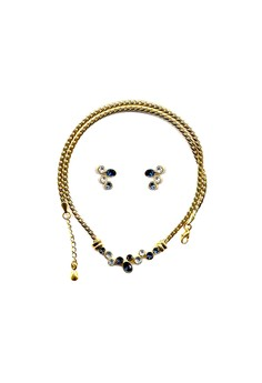 Paris Bijoux ST0515A Set - 22K Gold Plated Necklace + Earring - Crystal/Montana