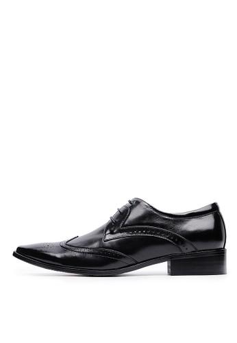 雅痞雕孔。頭層牛皮雕花方頭商務皮鞋-04517-黑色, esprit outlet 香港鞋, 皮鞋