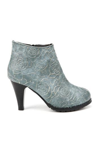 KissXXX blue Printed Gold Rose High Heel Vintage Blue Boots KI688SH2VN2SHK_1