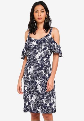 OVS blue Tropical Cold Shoulder Dress 0B342AAC51387CGS_1