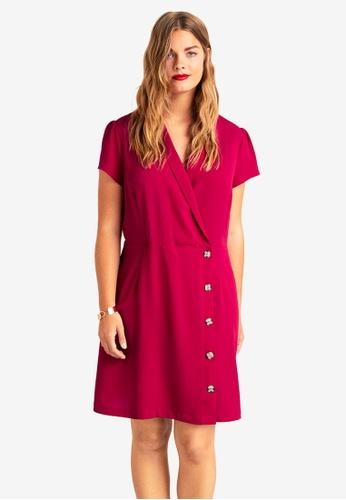 Violeta by MANGO red Plus Size Wrap Neckline Dress C664CAAFDDCEF0GS_1