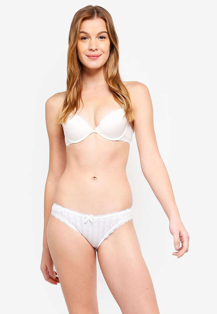 Pointelle Briefs White 6IXTY8IGHT Cotton Bikini PdndXq