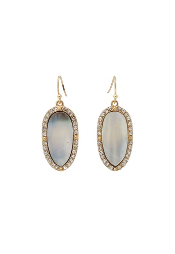 Jaysa Collection gold Elegant Mother-of-Pearl Dangle Earrings with Crystals 52B2AACE4B105AGS_1