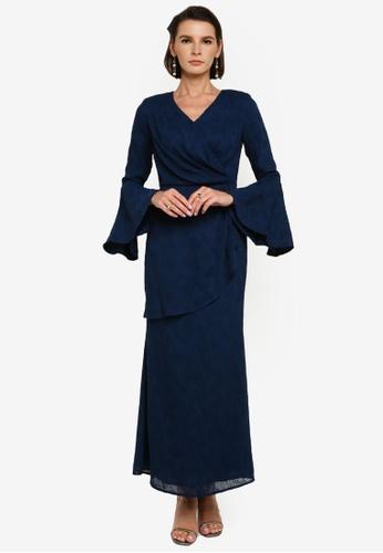 Zalia 藍色 Drape Textured Dress 0C10FAA3B9A817GS_1