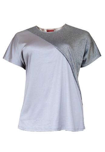 Herway grey Herway Plus Size Boat Neck Cut & Sew Mix Shine Knit Top 1XL-4XL Big Size (Grey) HW9064 D76DAAAEE35226GS_1