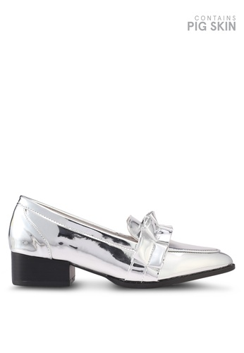 LOST INK silver Freddie Box Pleat Loafers LO238SH0T1S5MY_1